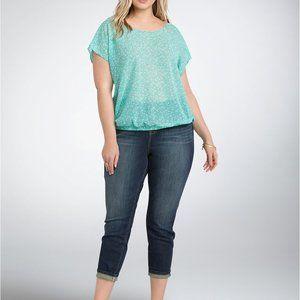 Torrid mint green floral banded bottom blouse 4x